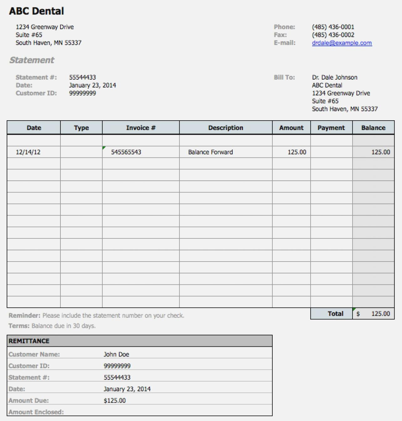 Dental Billing Statement Template