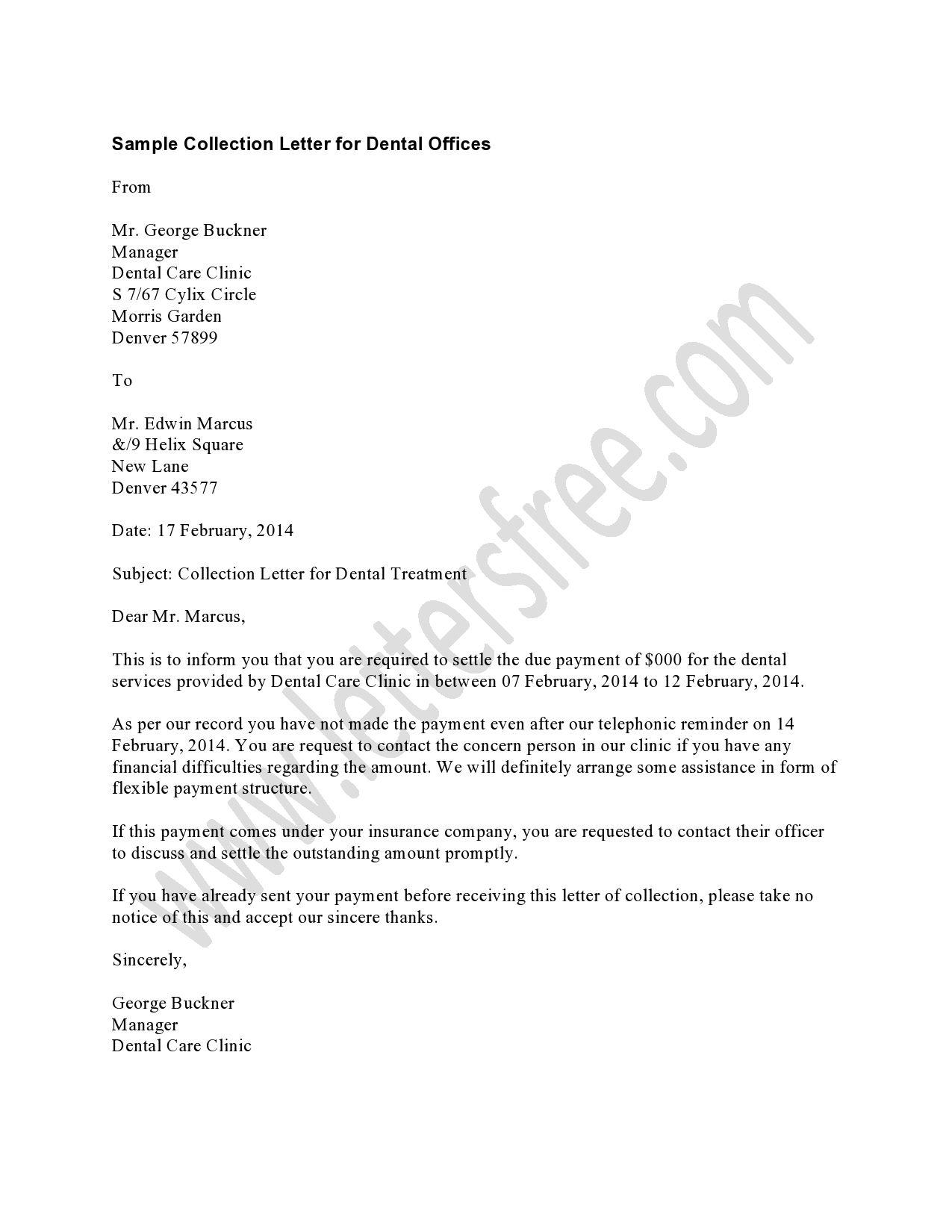 Dental Collection Letter Templates