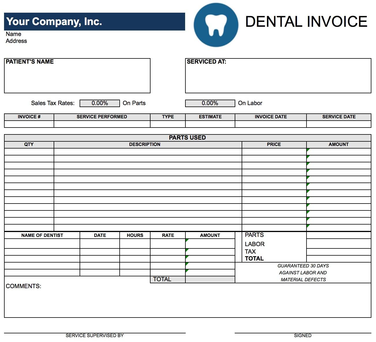 Dental Invoice Template Excel
