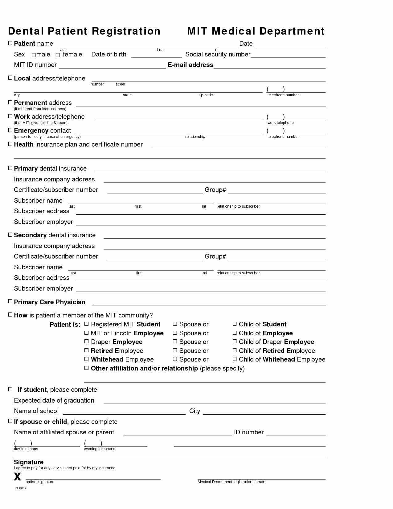 Dental Medical Questionnaire Template