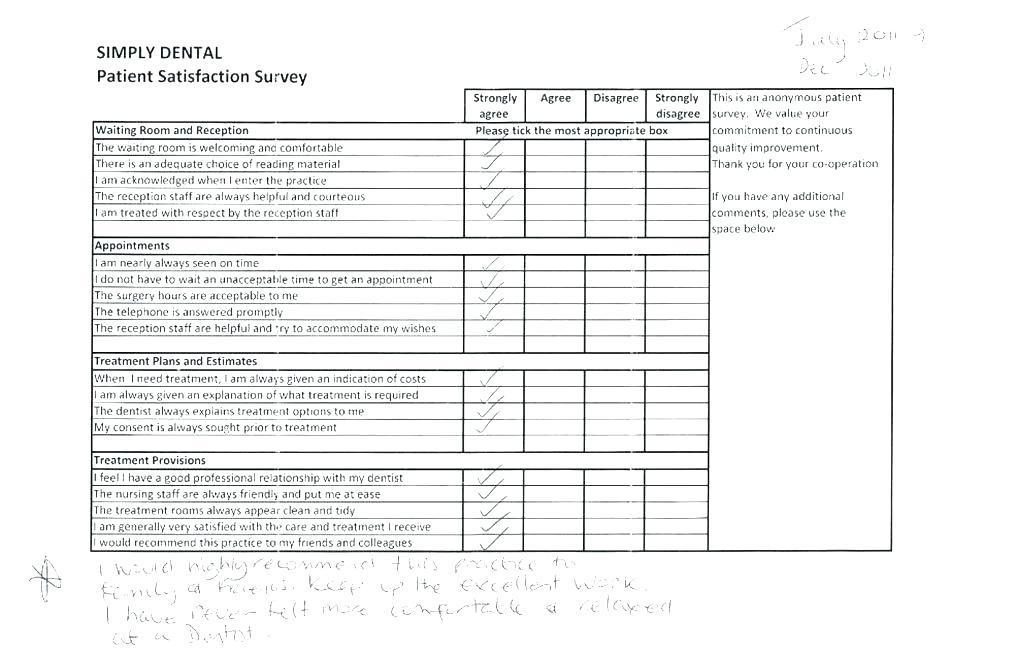 Dental Patient Satisfaction Survey Form