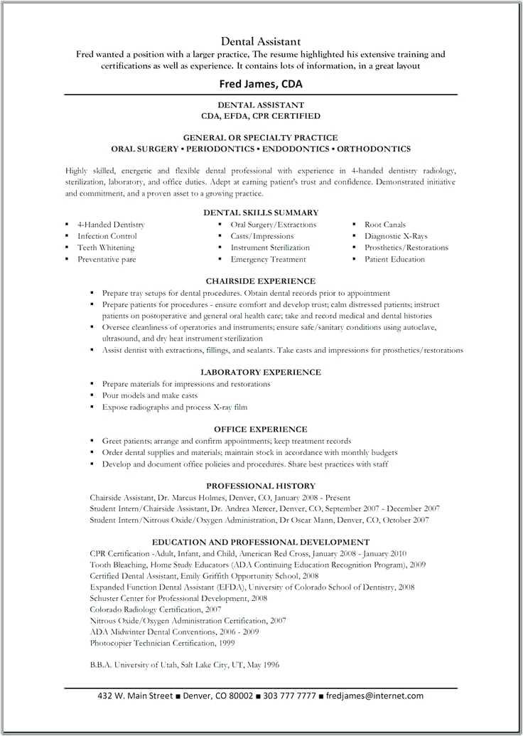 Dental Student Resume Template