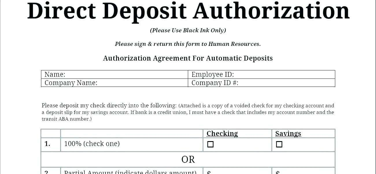 Deposit Form Template Word