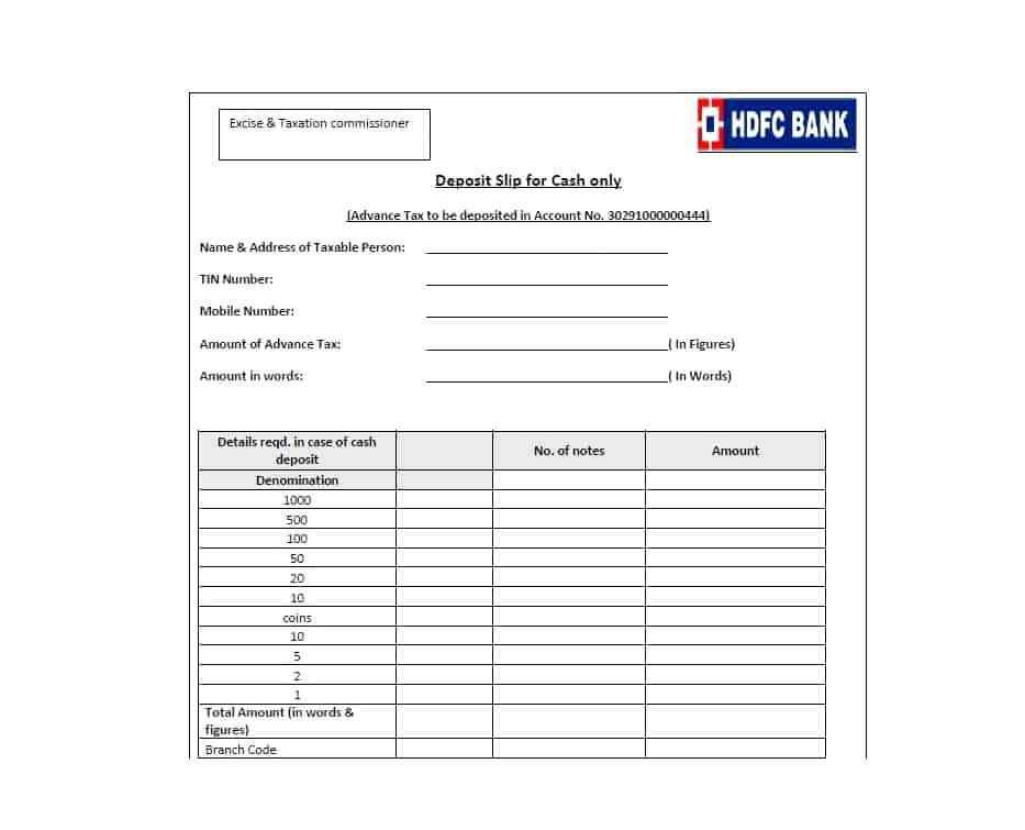 Deposit Slip Template For Students