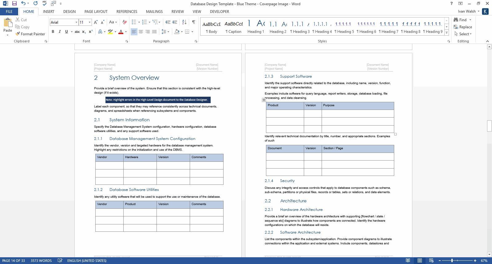 Design Document Template Software
