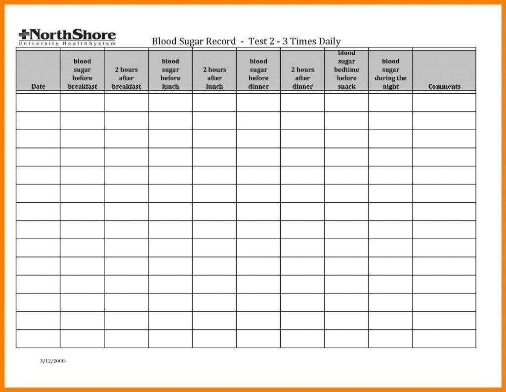 Diabetes Blood Sugar Chart Template
