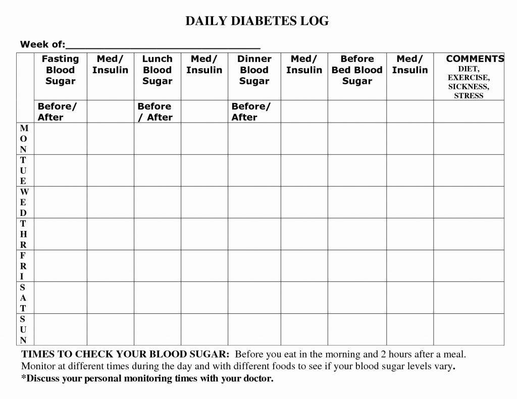 Diabetes Log Excel Template