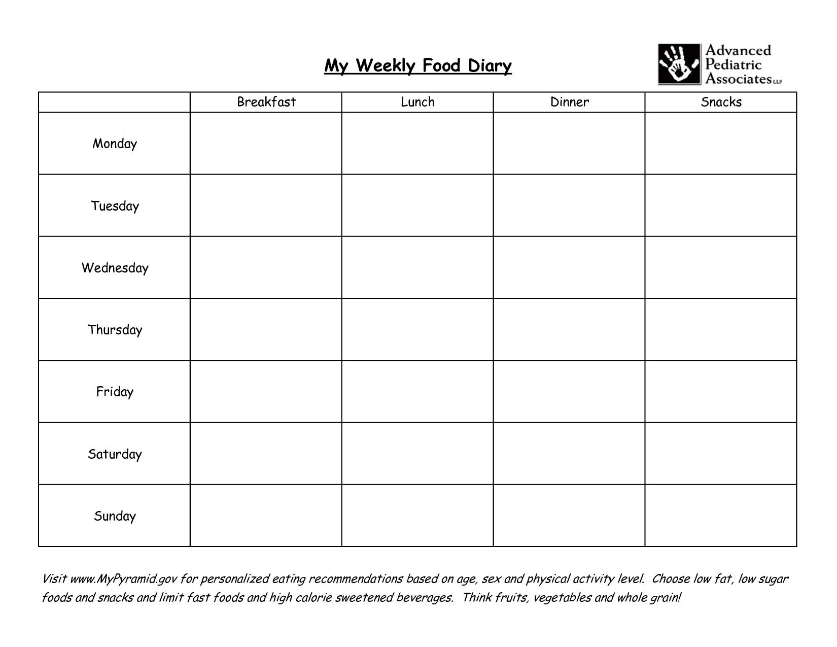 Diabetic Food Chart Template