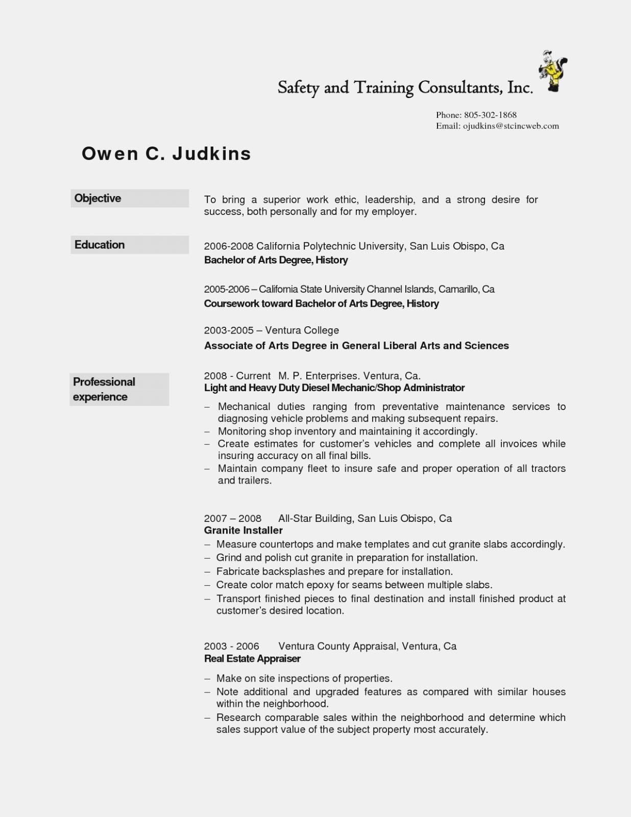 Diesel Mechanic Resume Template