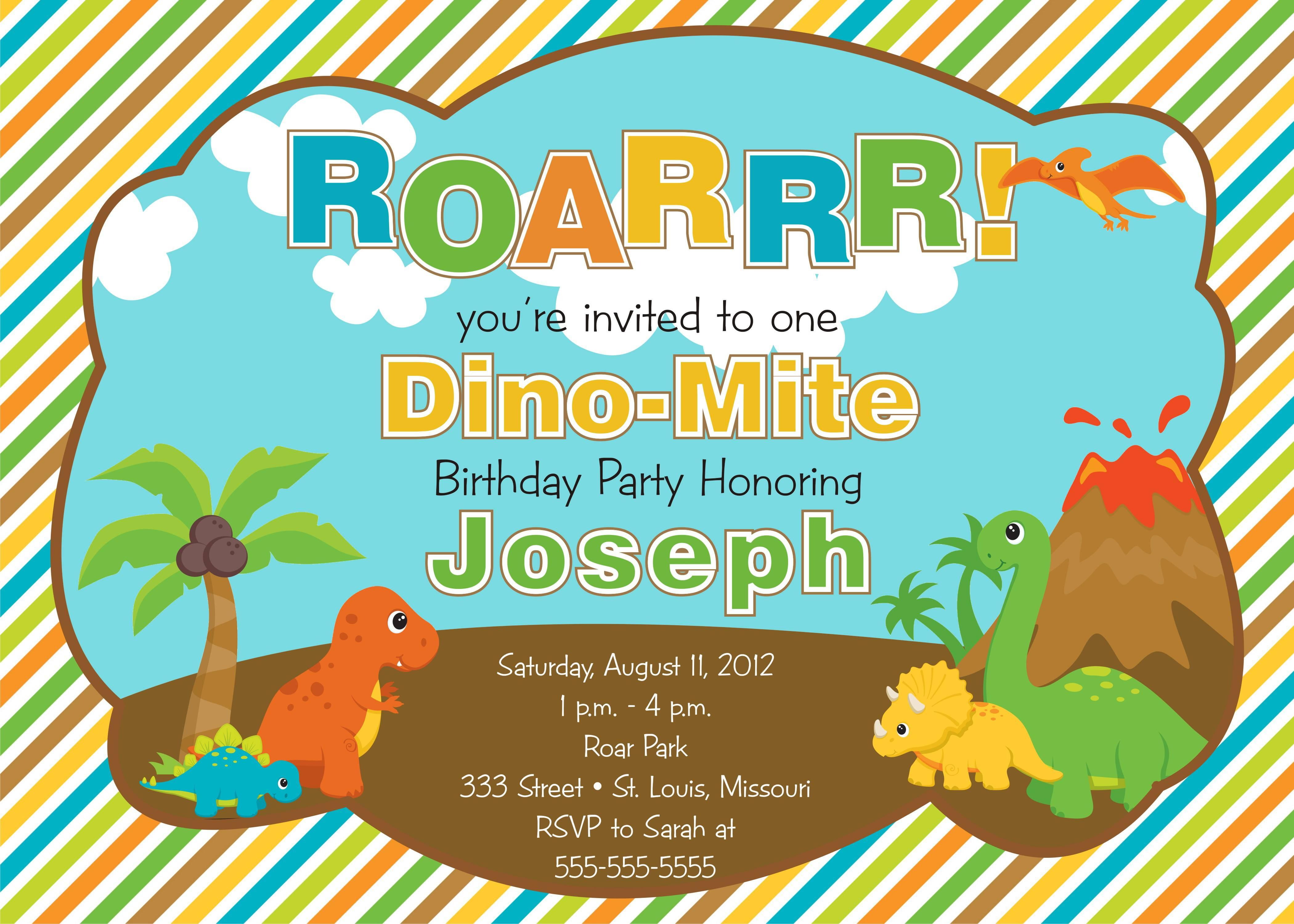 Dinosaur Party Invitations Template