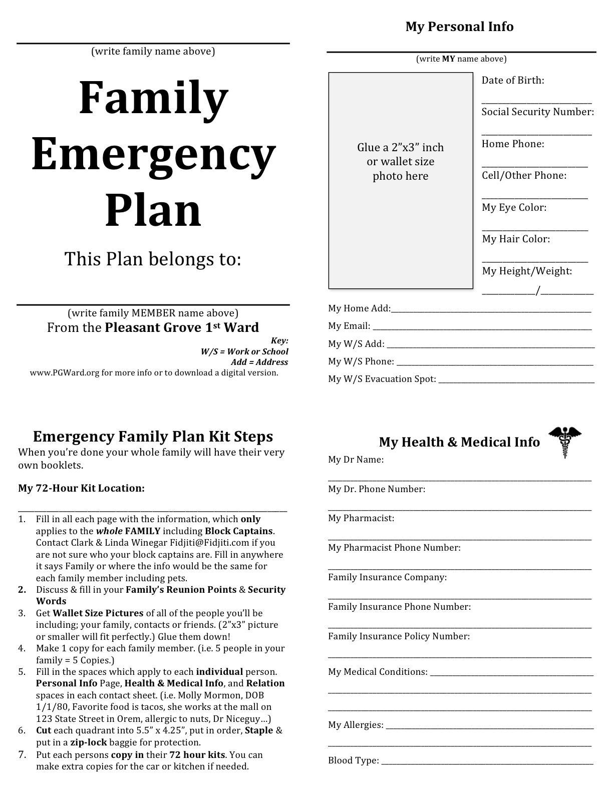Disaster Preparedness Plan Format
