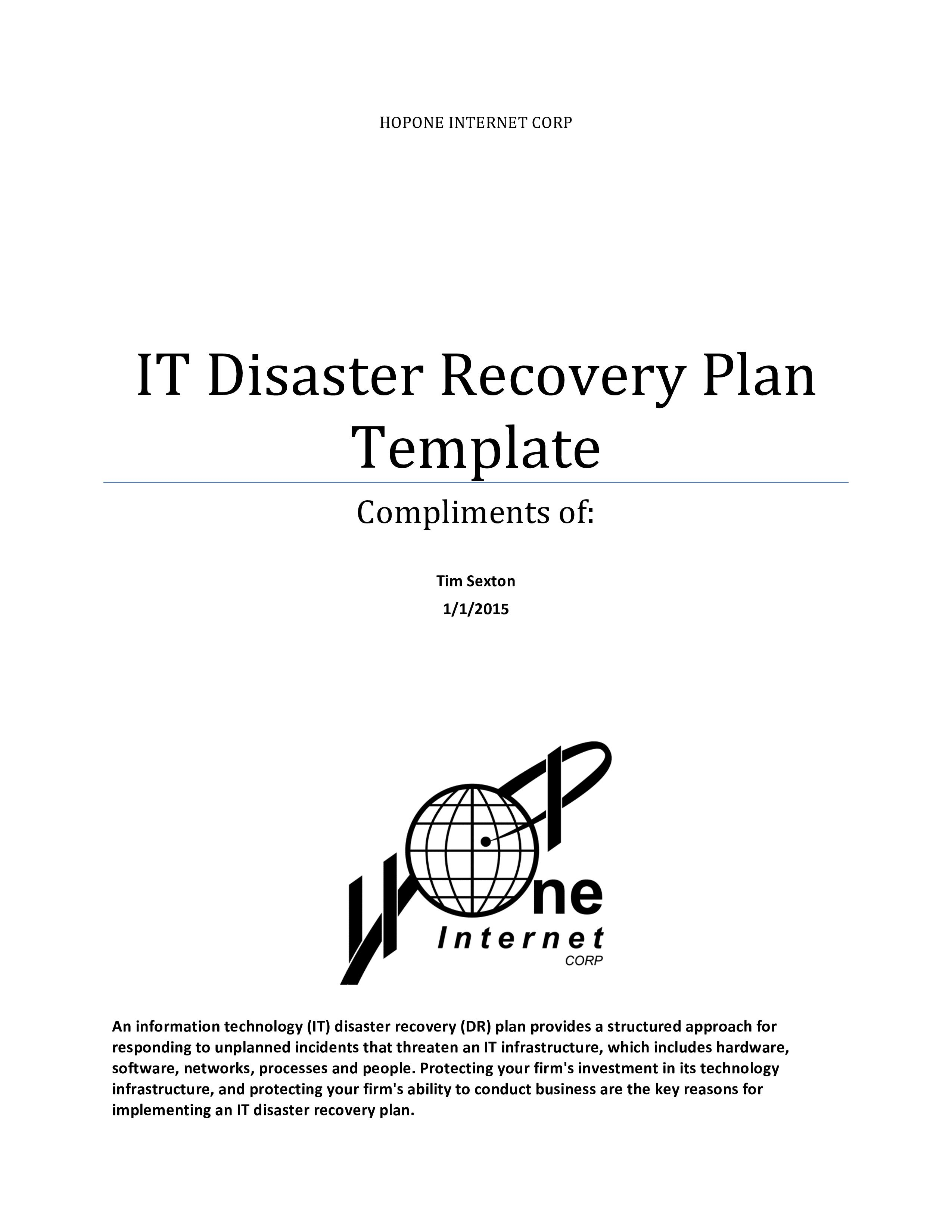 Disaster Recovery Plan Templates Free