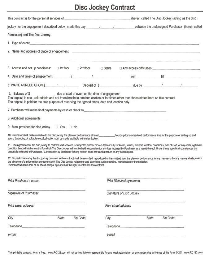 Disc Jockey Contract Template