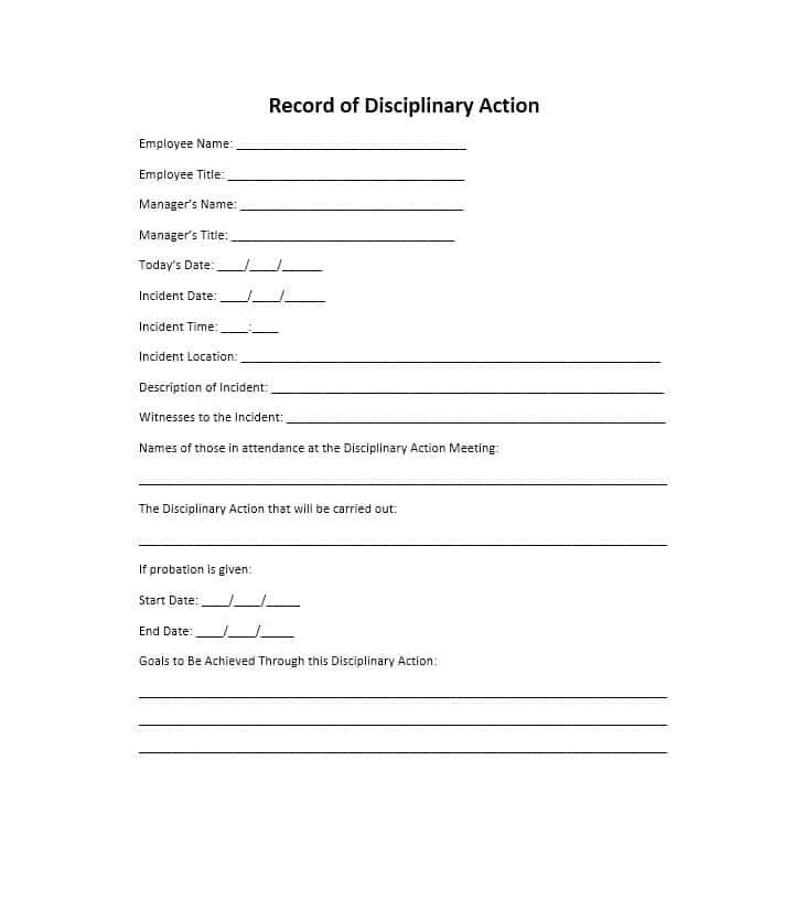 Disciplinary Form Template Free