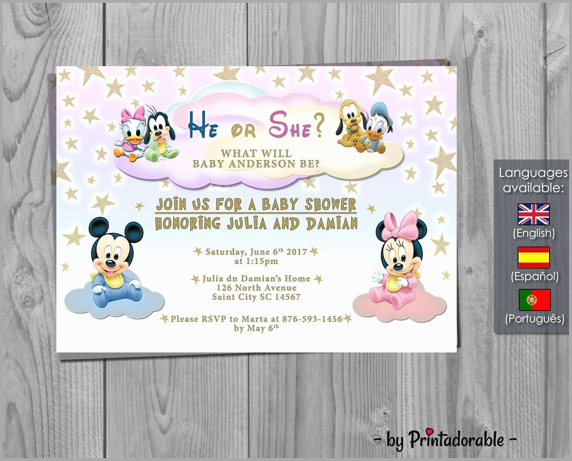 Disney Baby Shower Invitation Templates