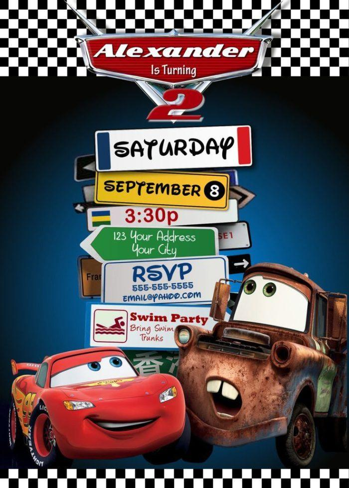 Disney Cars Photo Invitation Template