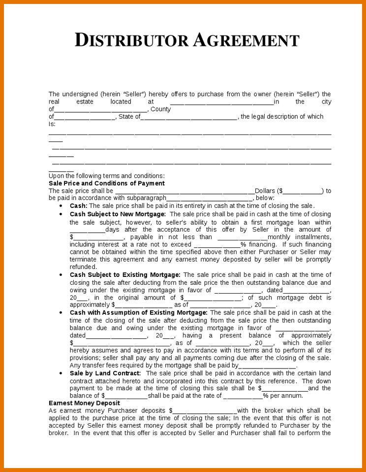 Distribution Agreement Template Word