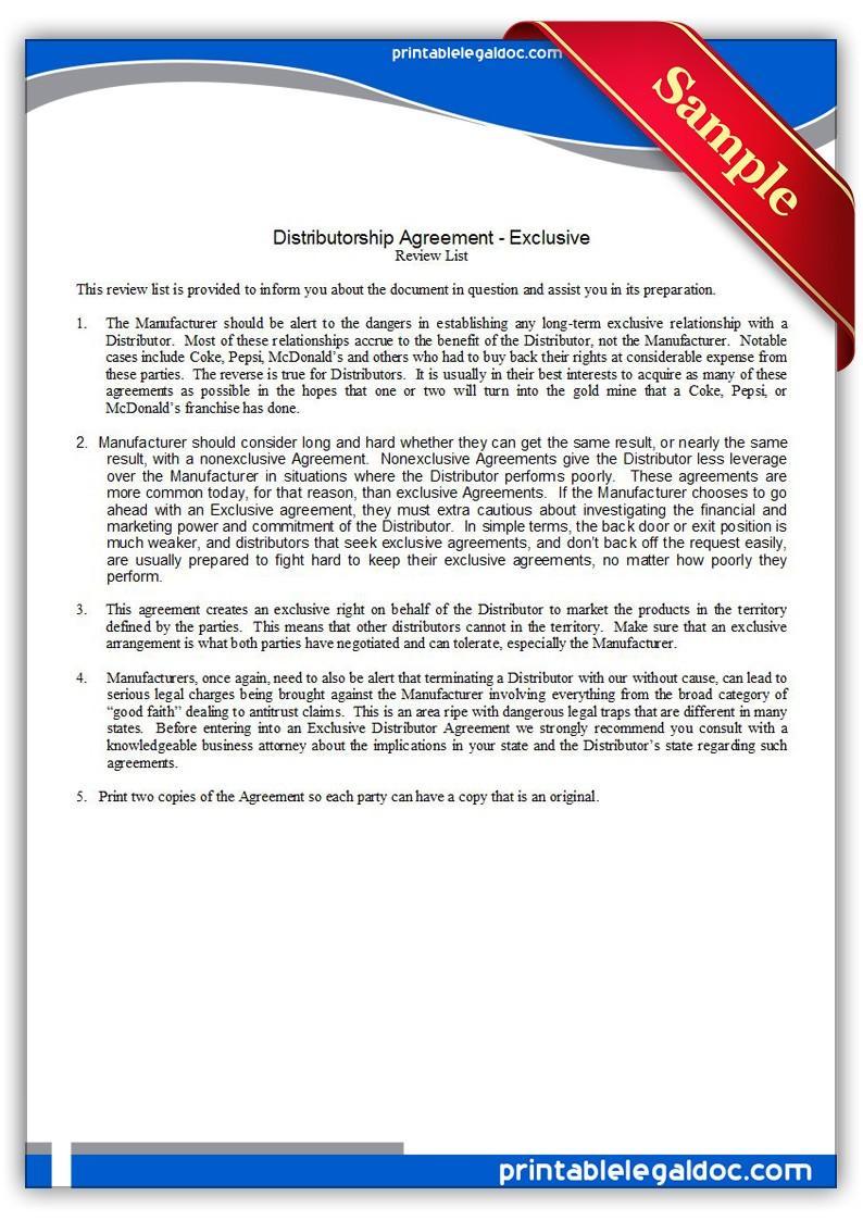 Distributor Agreement Form