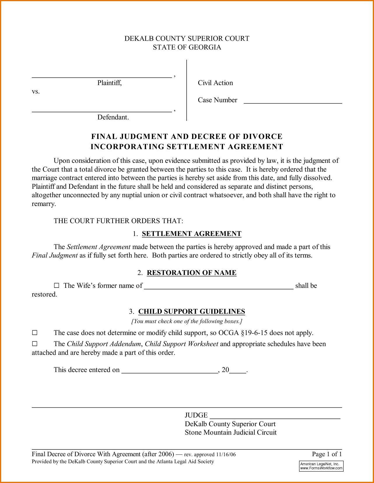 Divorce Decree Template Minnesota