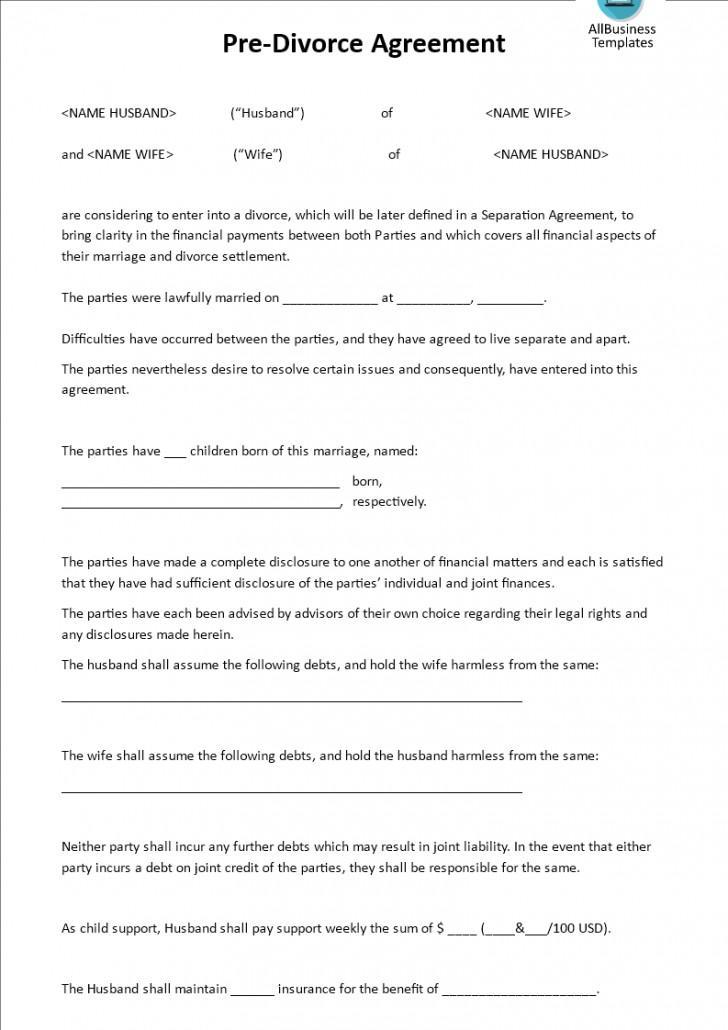 Divorce Financial Agreement Template Uk