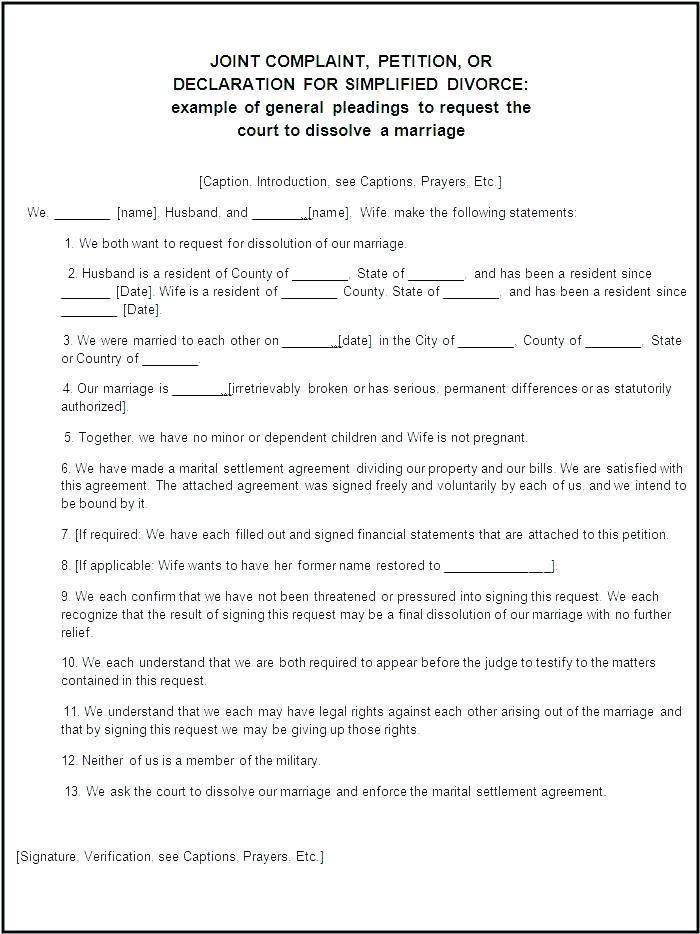 Divorce Papers Template Texas