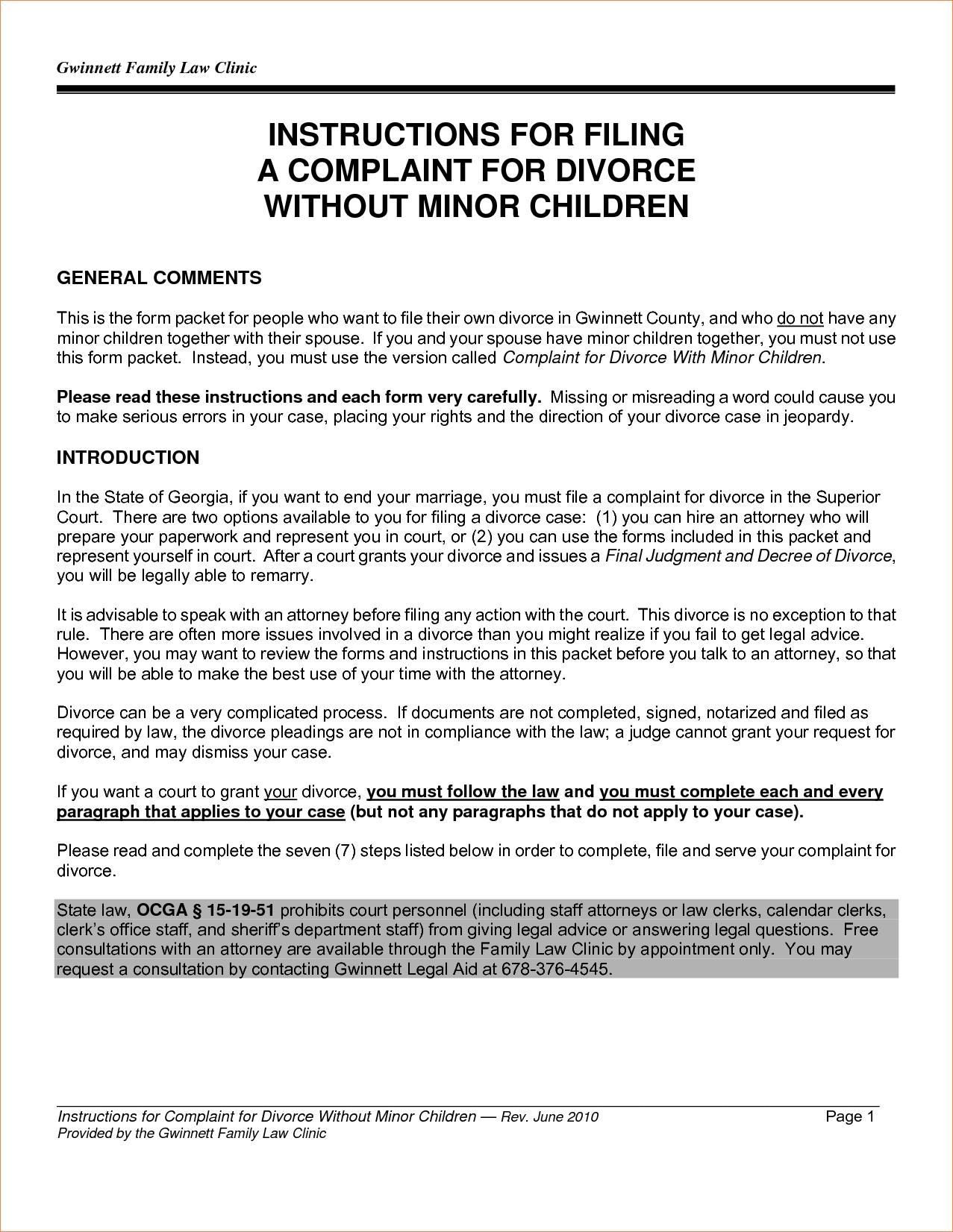 Divorce Settlement Agreement Template Pa