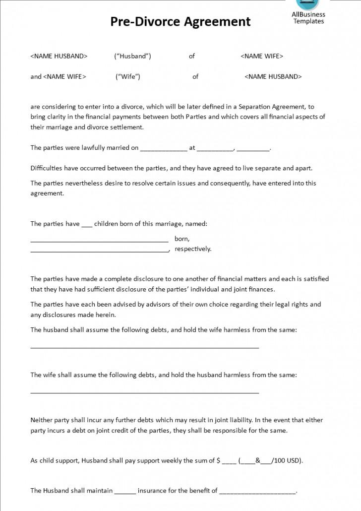 Divorce Settlement Template