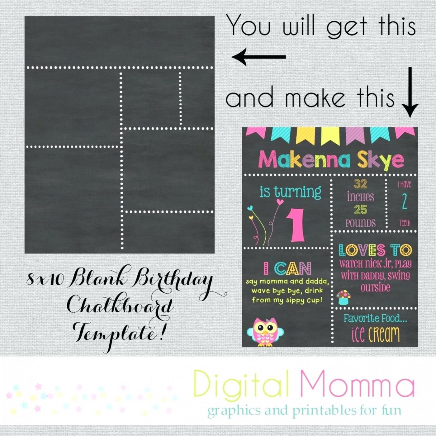 Diy Birthday Chalkboard Poster Template