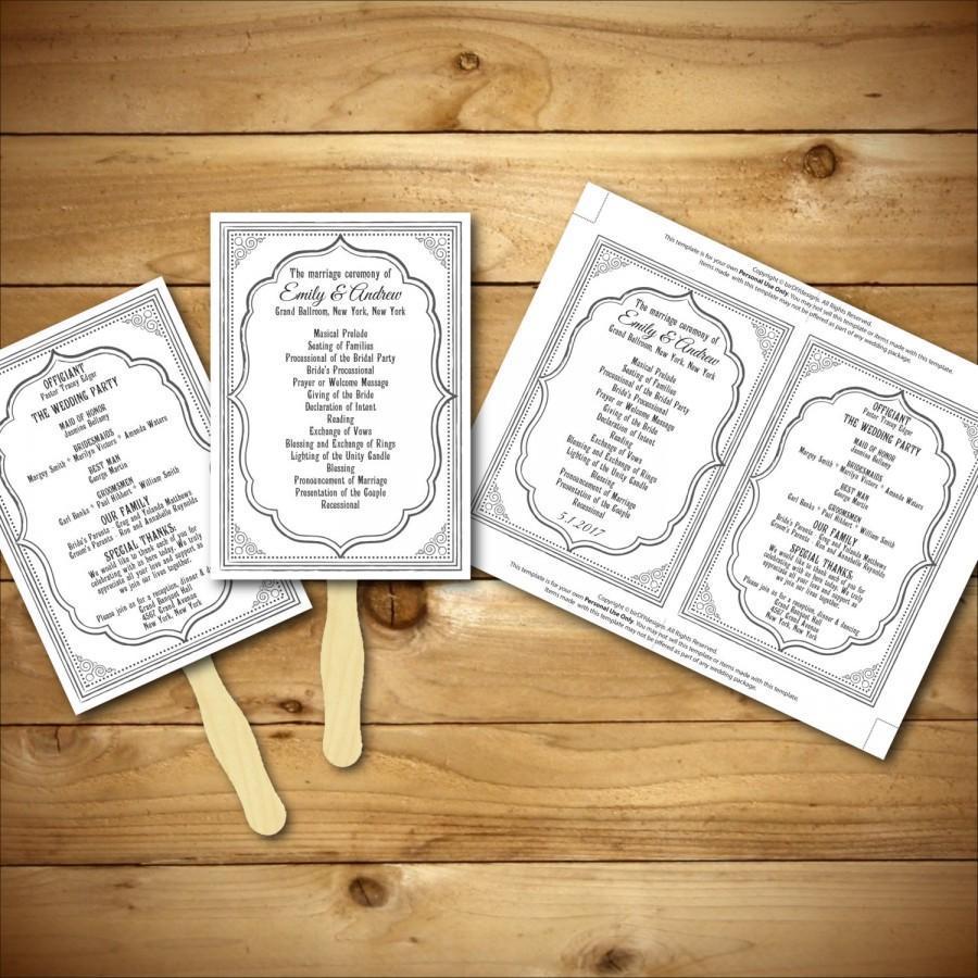 Diy Fan Wedding Programs Templates