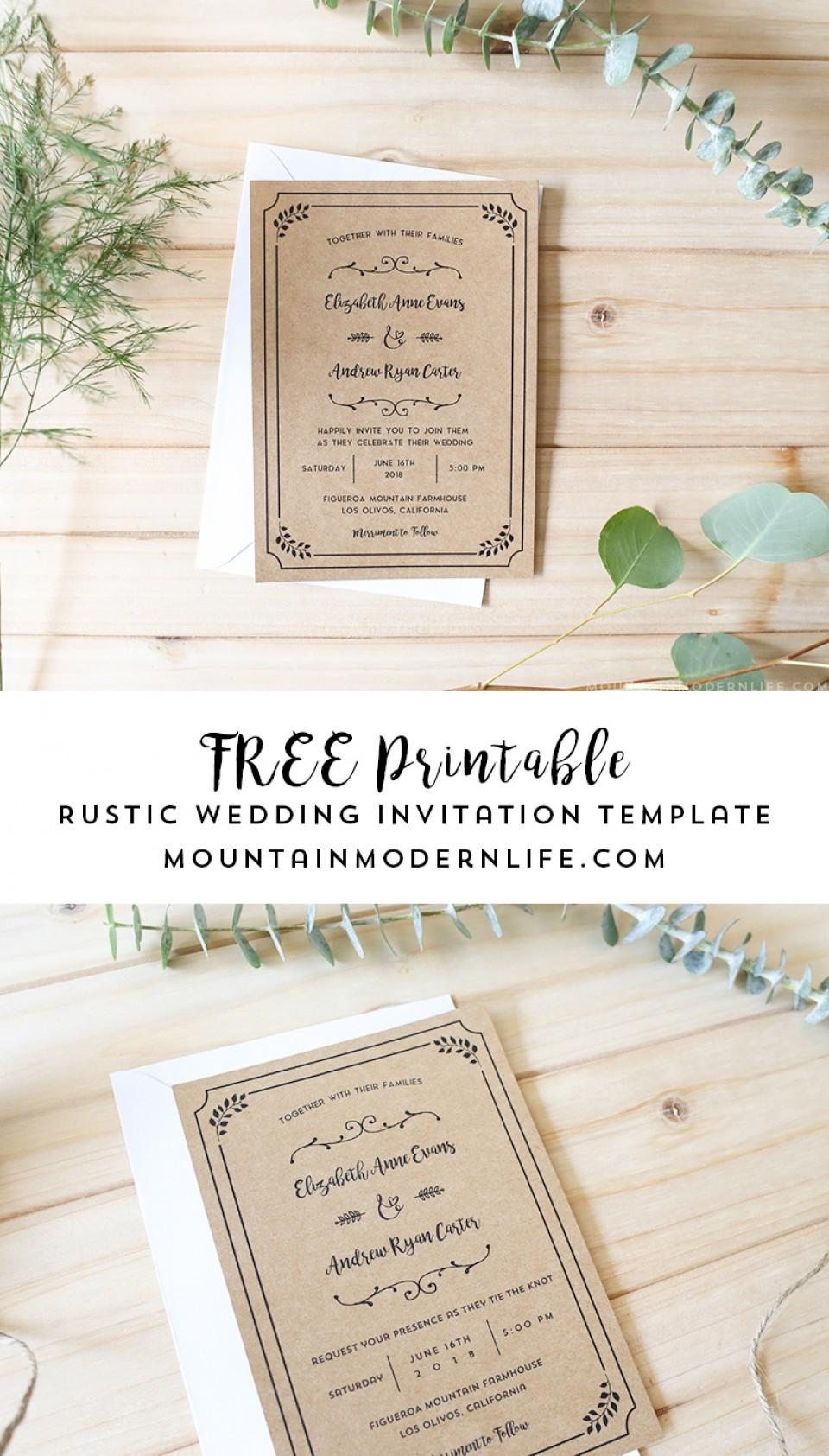 Diy Rustic Wedding Invitation Templates Free