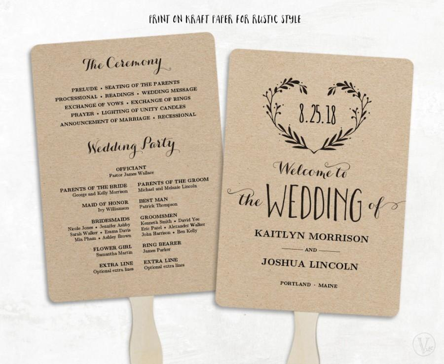 Diy Wedding Programs Fans Template