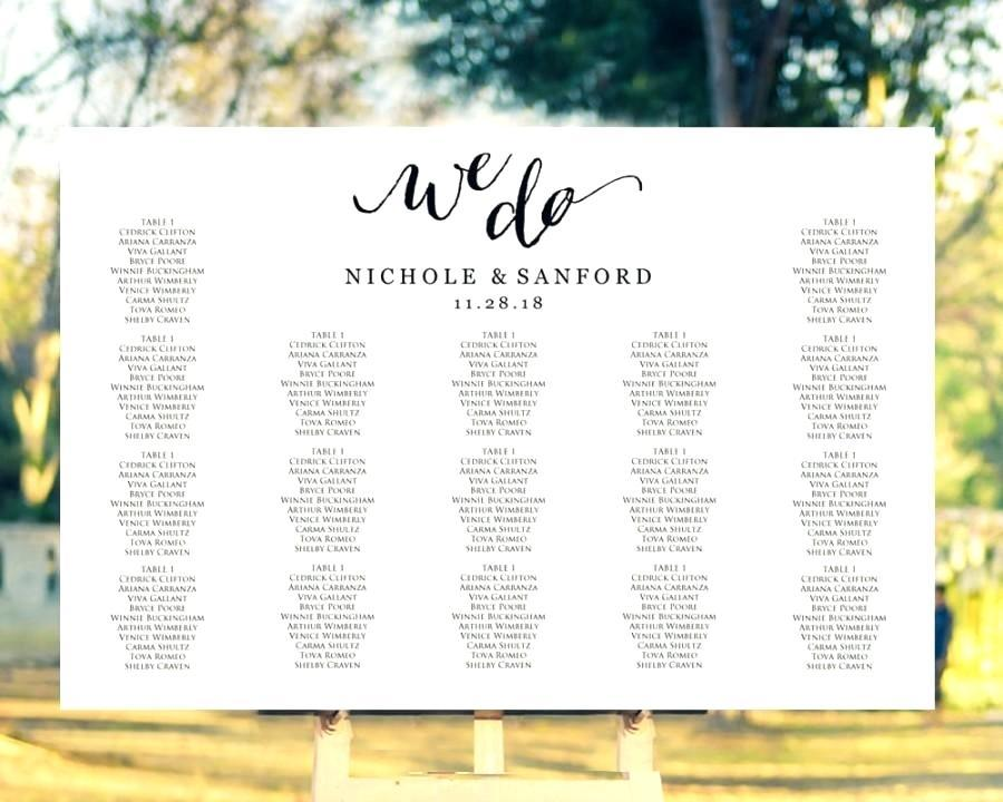 Diy Wedding Seating Chart Poster Template