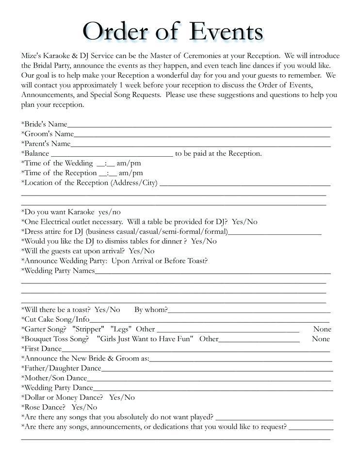 Dj Wedding Agenda Templates