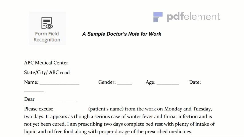 Doctor Notes For Work Templates