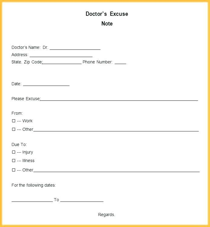 Doctors Note Format Free