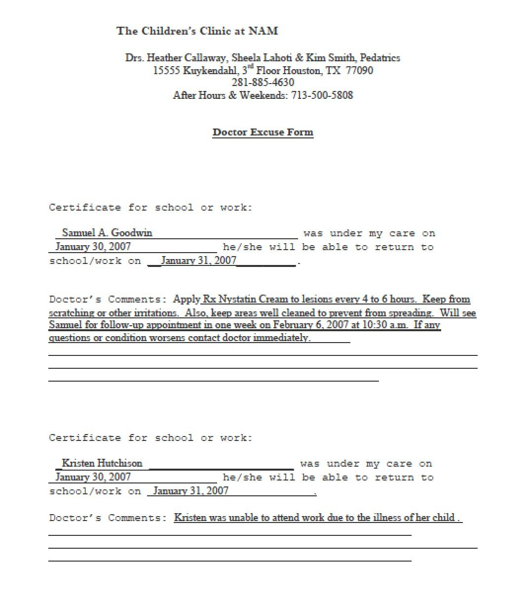 Doctors Note Template Pdf Download