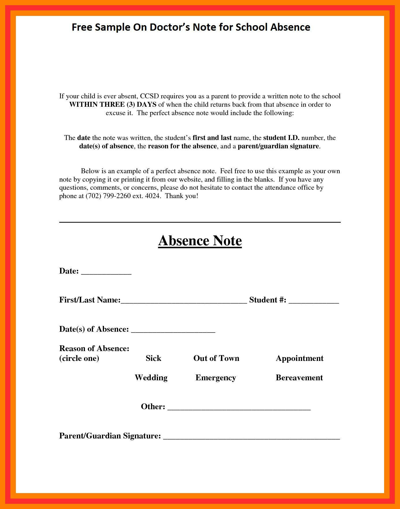 Doctors Notes Templates For School