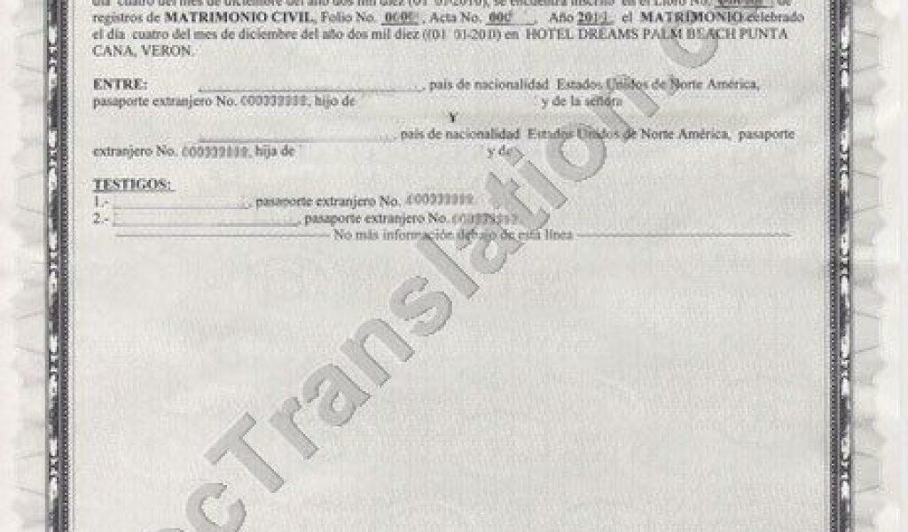 Dominican Marriage Certificate Translation Template