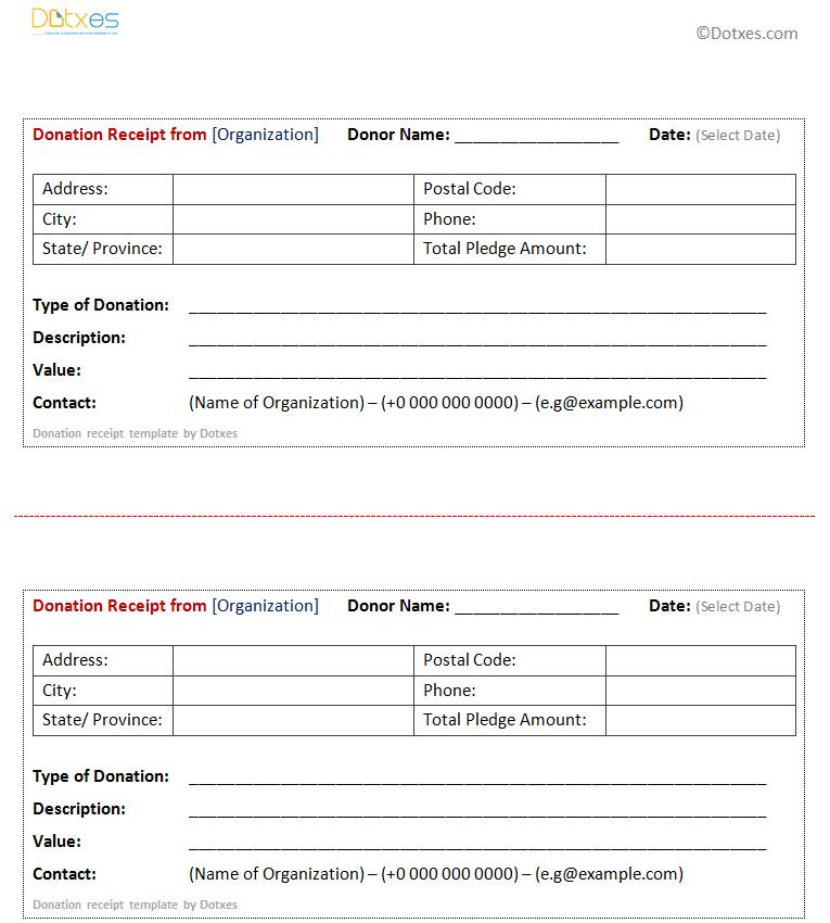 Donation Receipt Format India