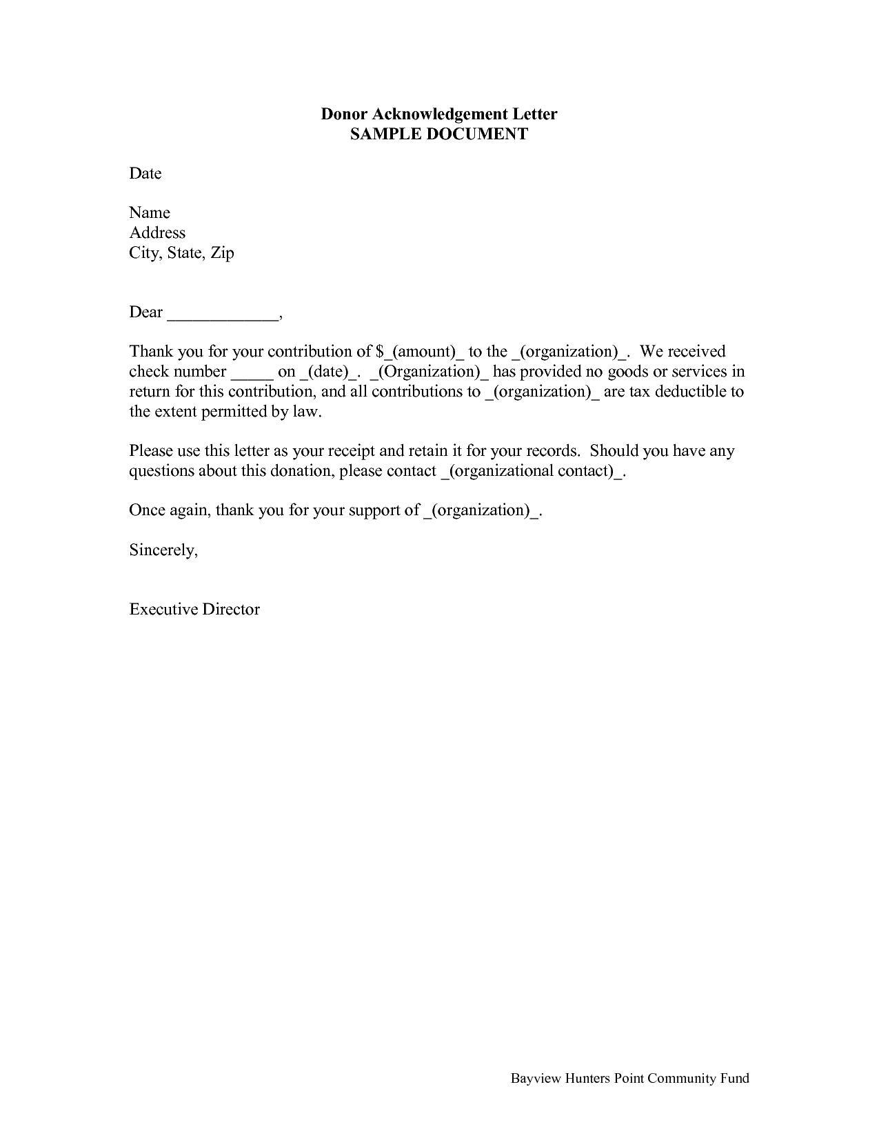 Donation Receipt Template Letter