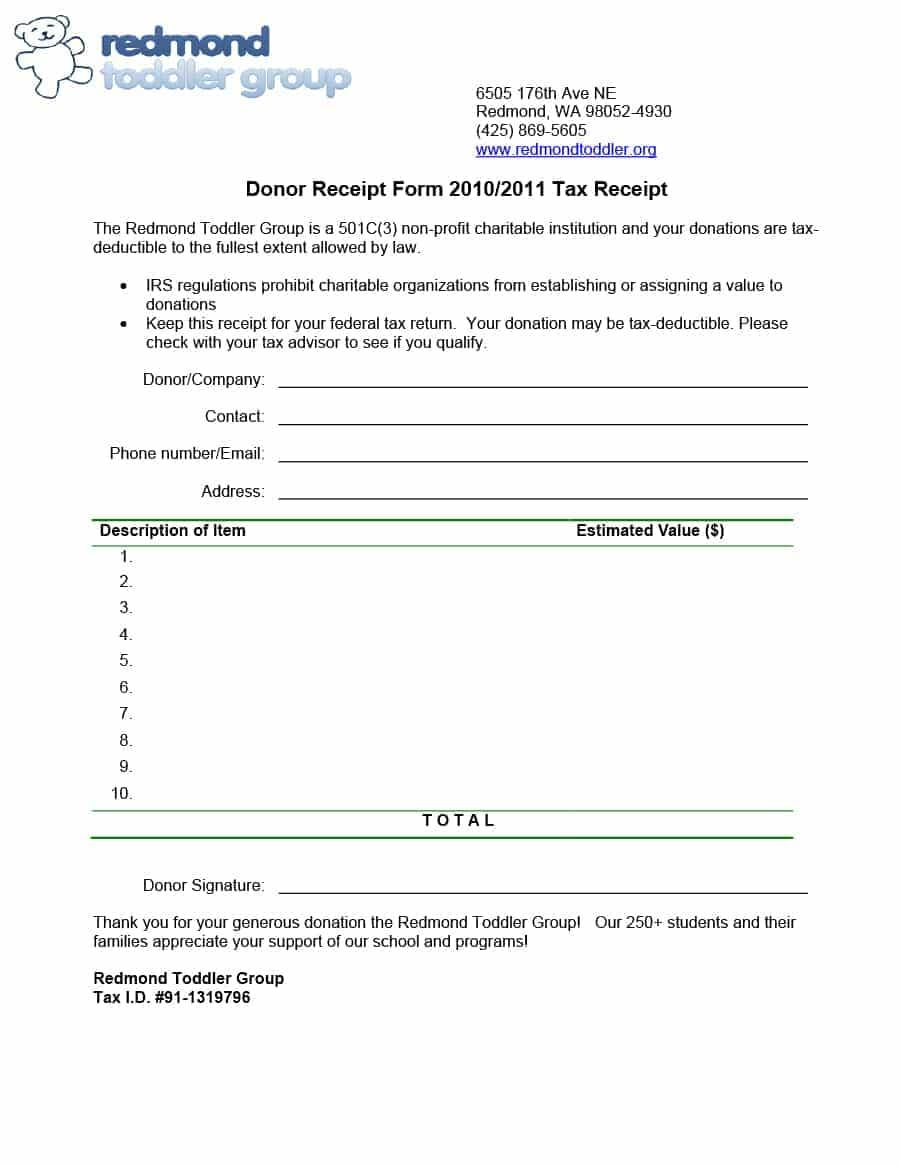 Donation Tax Receipt Form Template
