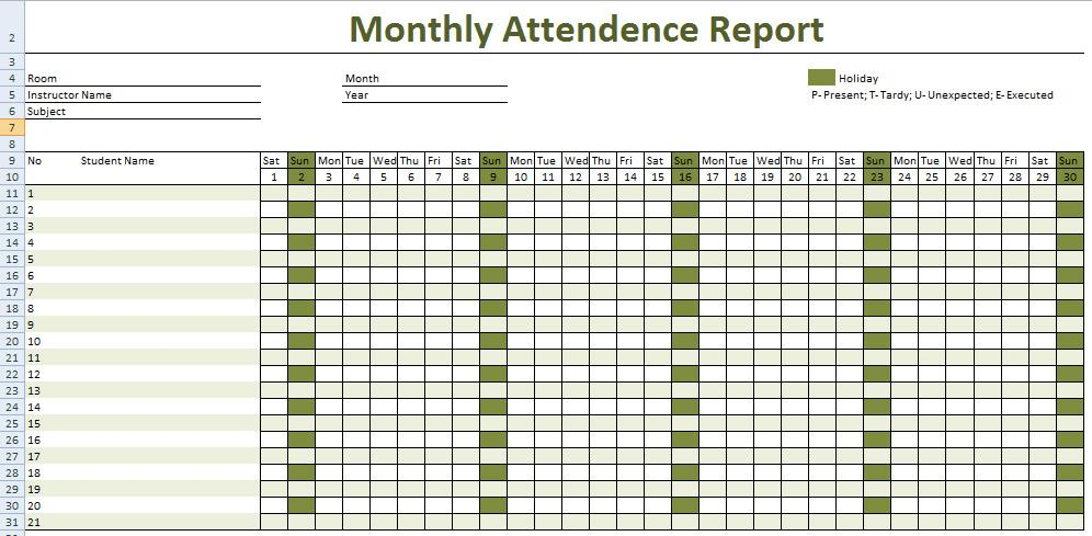 Download Employee Attendance Record Template Excel