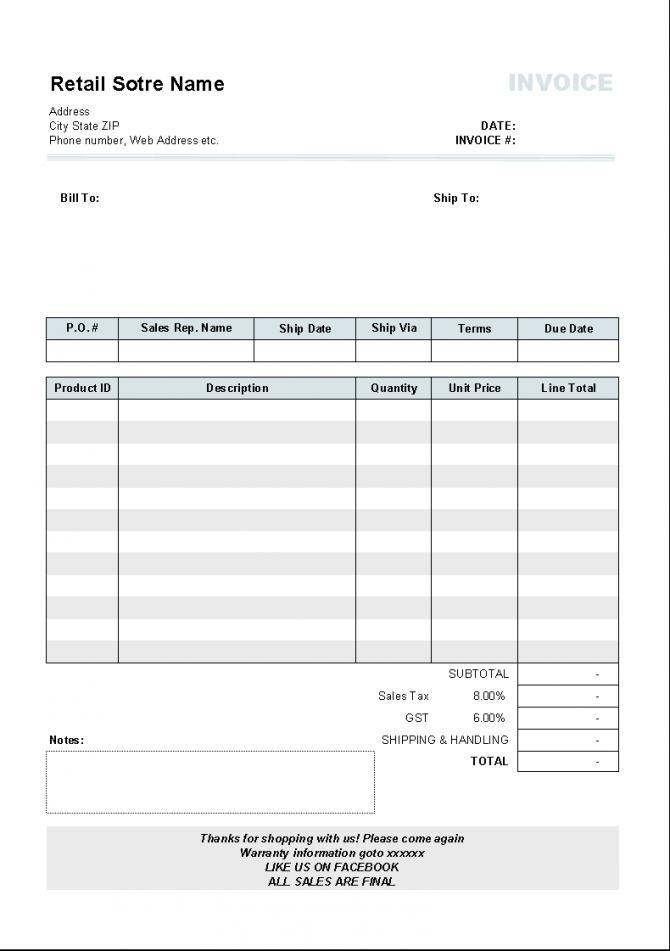 Download Excel Invoice Template Australia