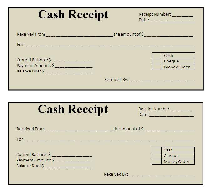 Download Free Receipt Template Word