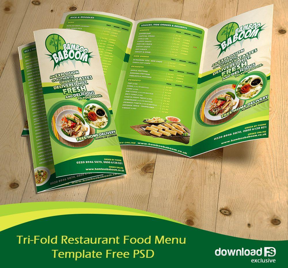 Download Free Tri Fold Menu Template