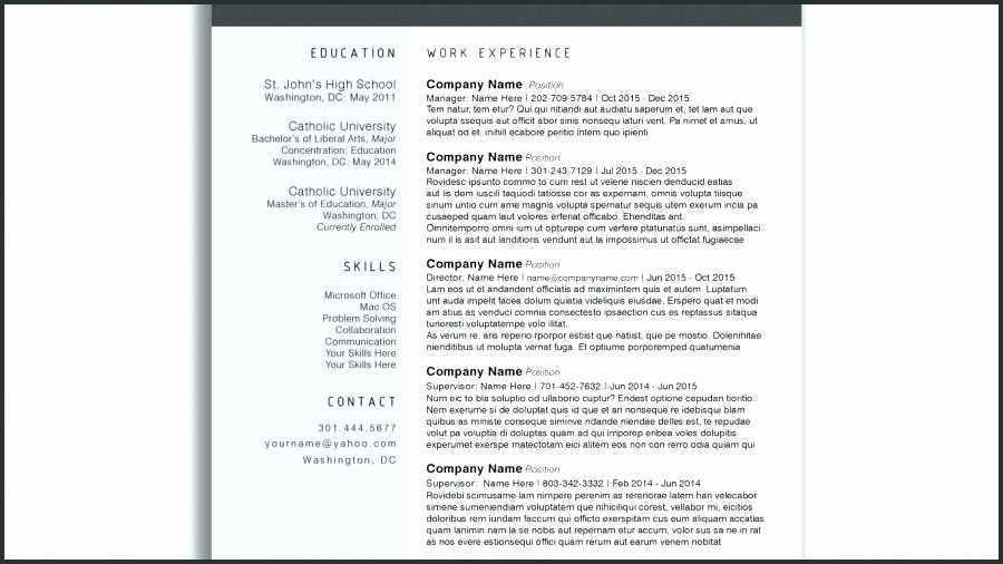Downloadable Modern Resume Templates For Word