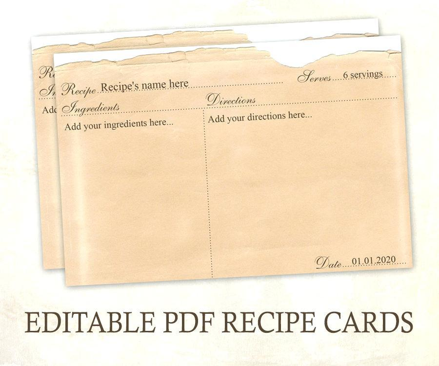 Downloadable Recipe Card Template