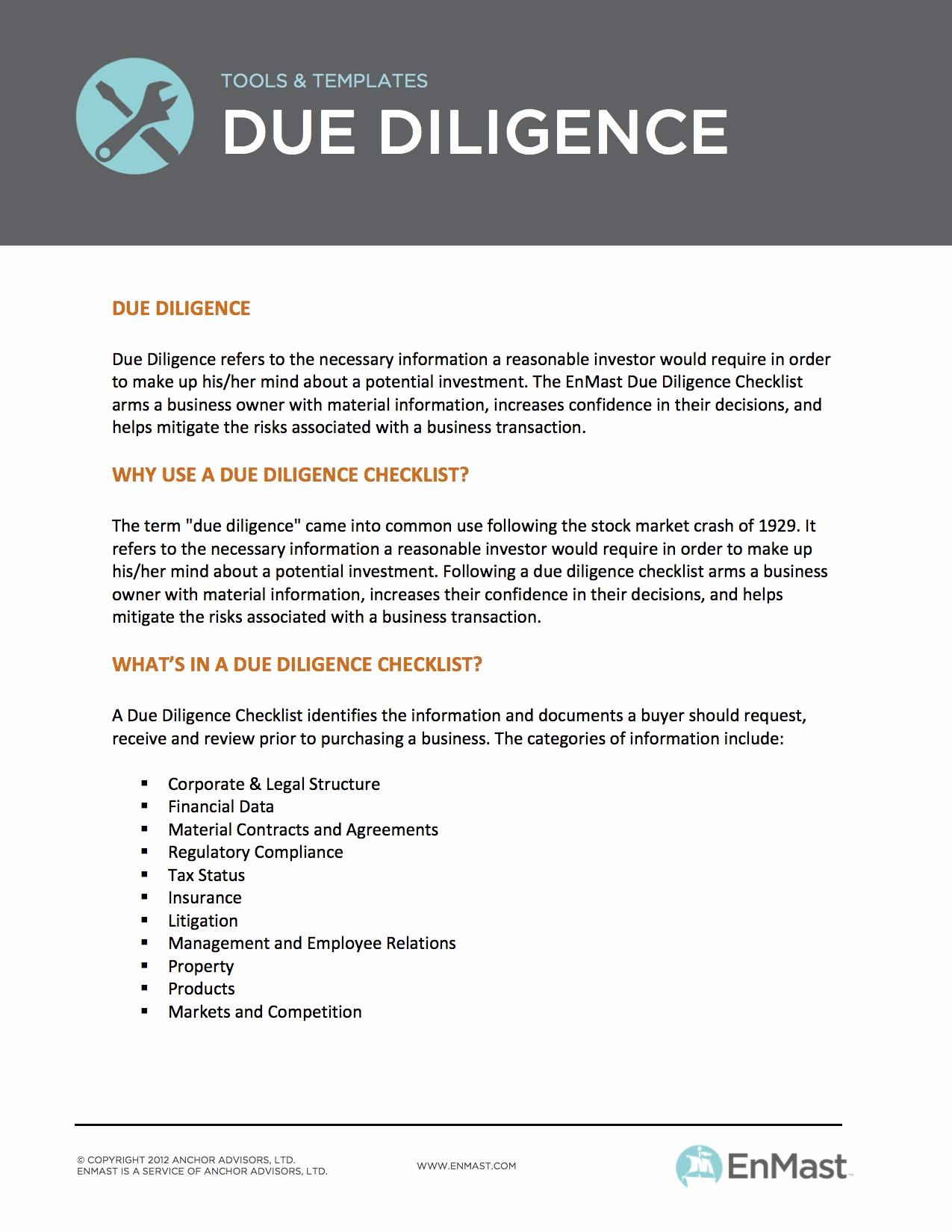 Due Diligence Report Example