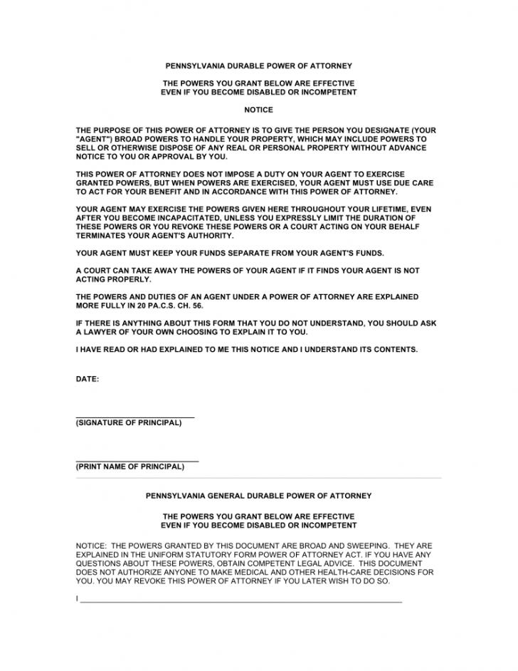 Durable Power Of Attorney Template Maryland
