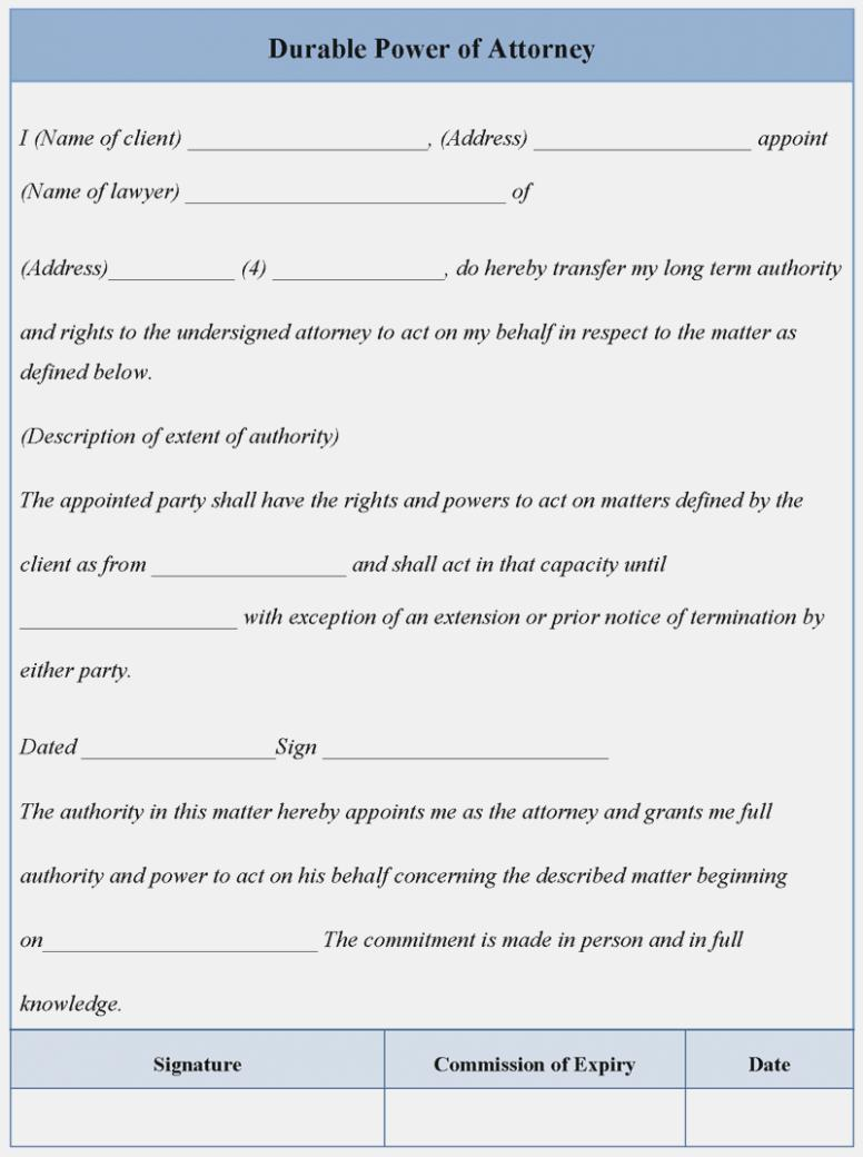 Durable Power Of Attorney Template Washington State